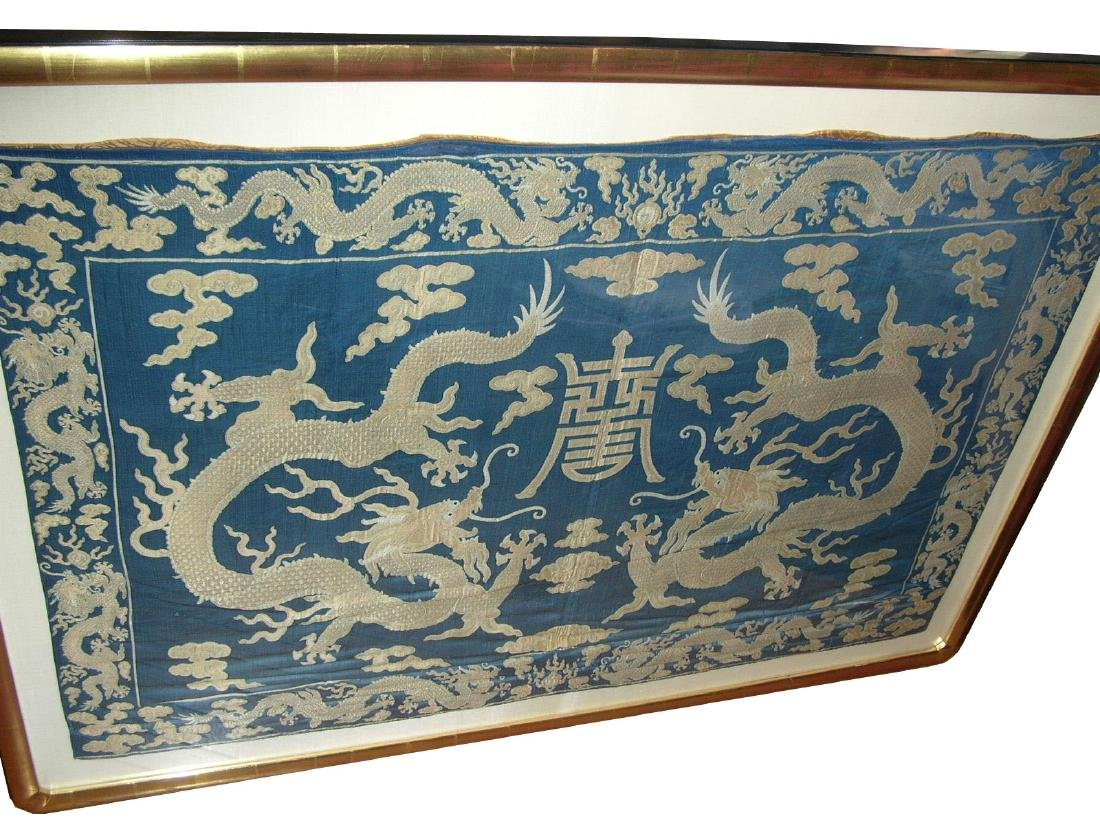 Large Antique Chinese Silk Brocade Woven 'Dragon' Panel - 2