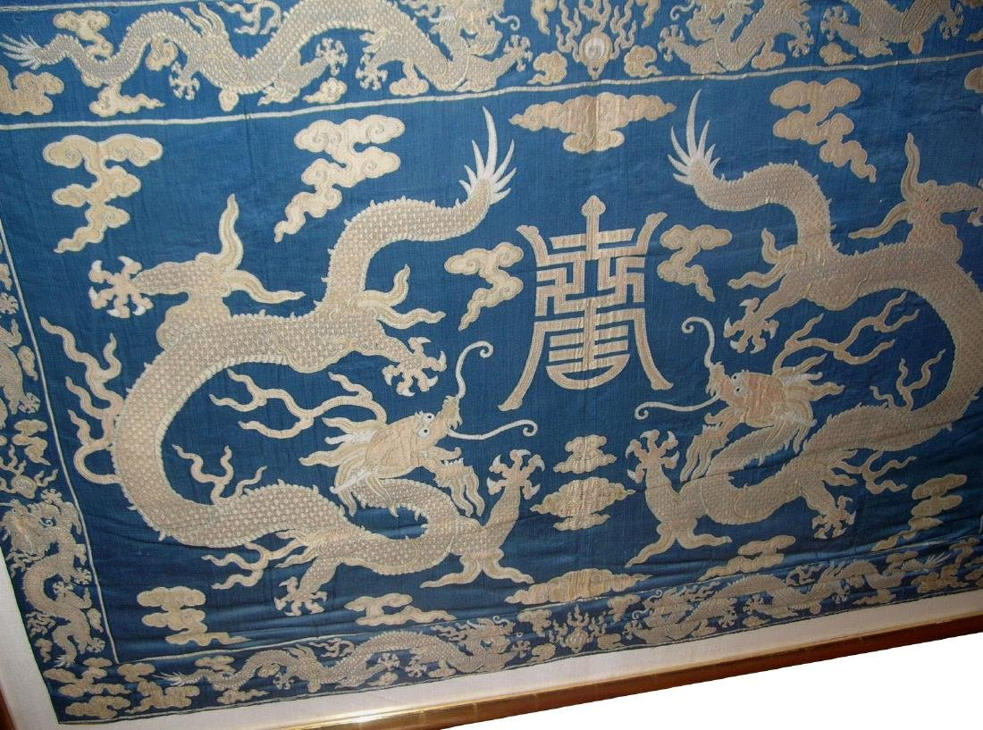Large Antique Chinese Silk Brocade Woven 'Dragon' Panel - 3