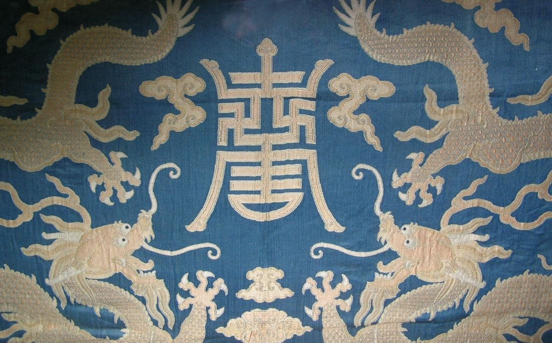 Large Antique Chinese Silk Brocade Woven 'Dragon' Panel - 4