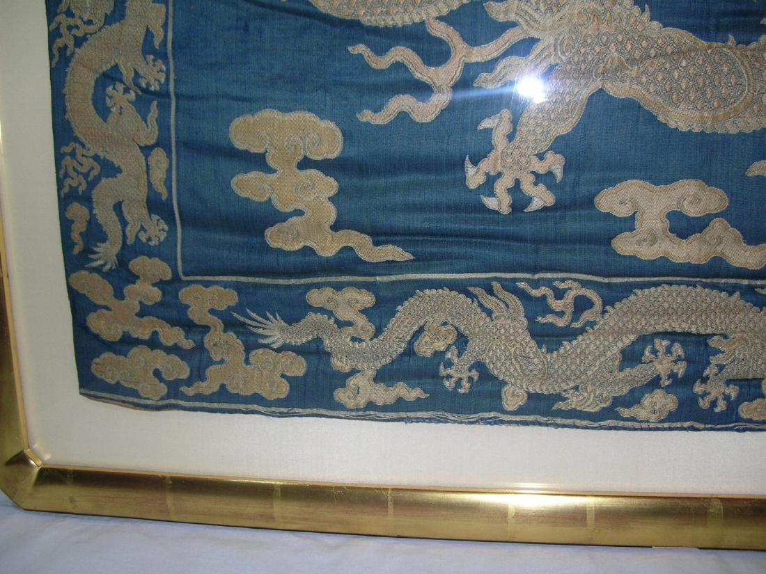 Large Antique Chinese Silk Brocade Woven 'Dragon' Panel - 5