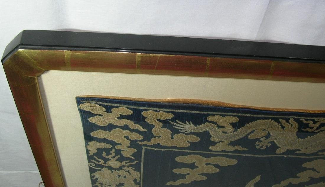Large Antique Chinese Silk Brocade Woven 'Dragon' Panel - 9
