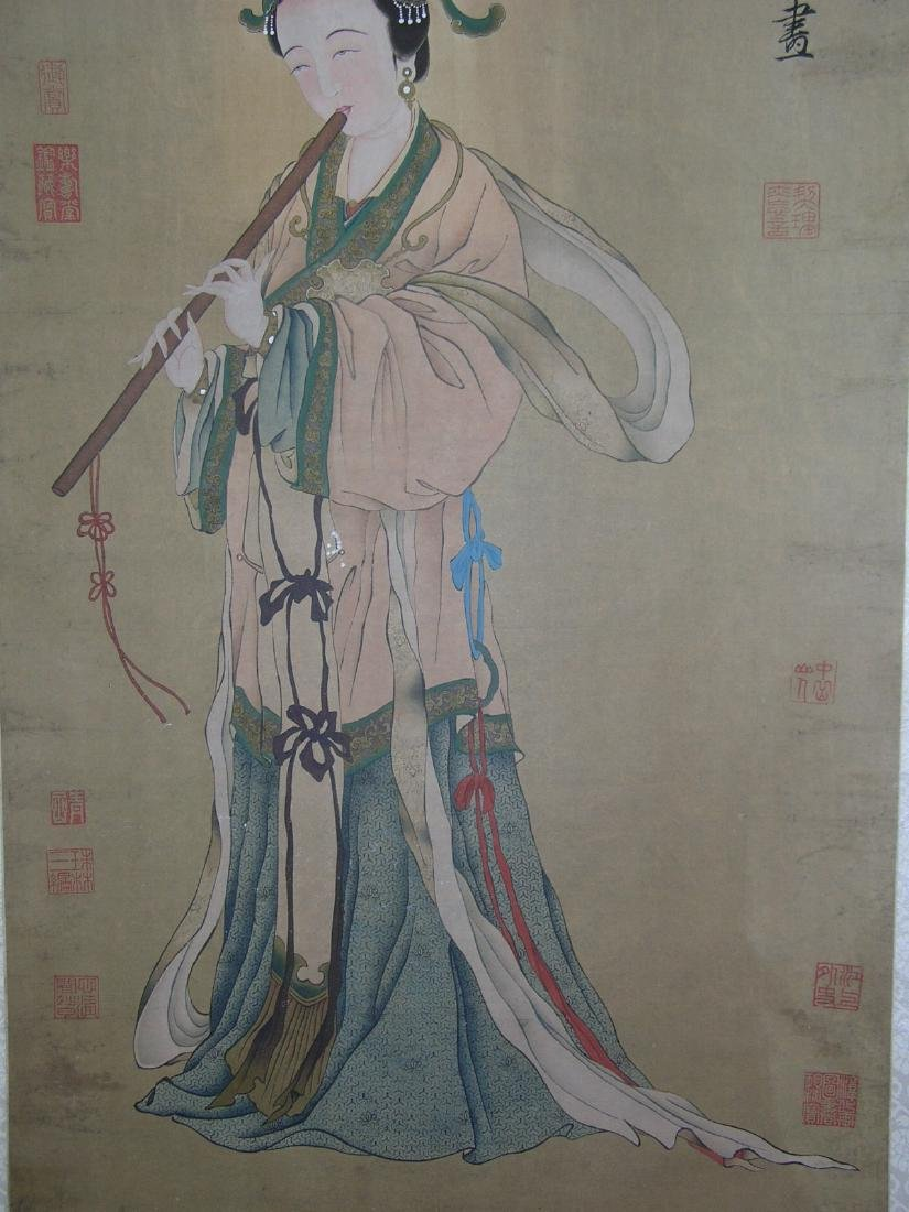 Chinese Watercolor Scroll Painting Maiden - 5