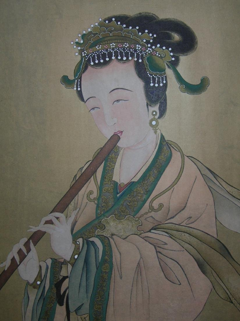 Chinese Watercolor Scroll Painting Maiden - 7