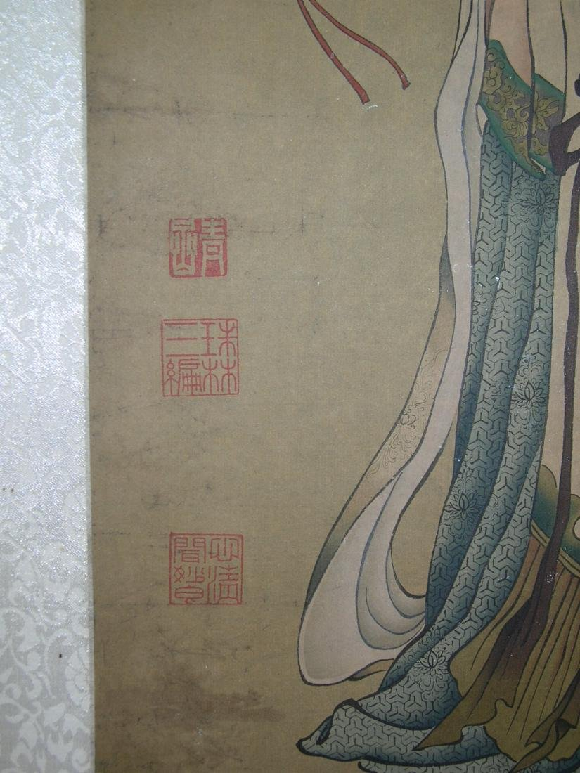 Chinese Watercolor Scroll Painting Maiden - 8