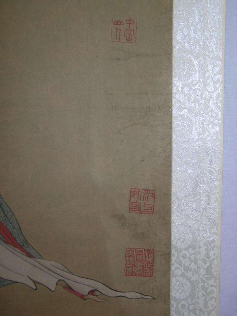 Chinese Watercolor Scroll Painting Maiden - 9