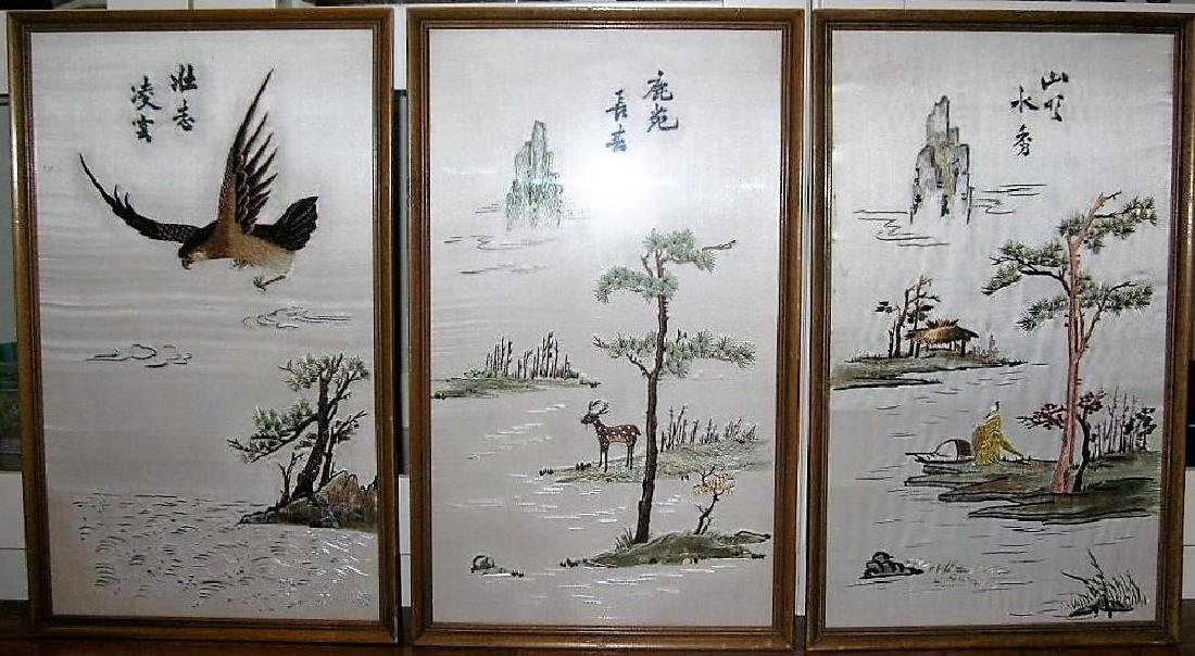 Three Old Chinese Silk Embroidery Panels Framed