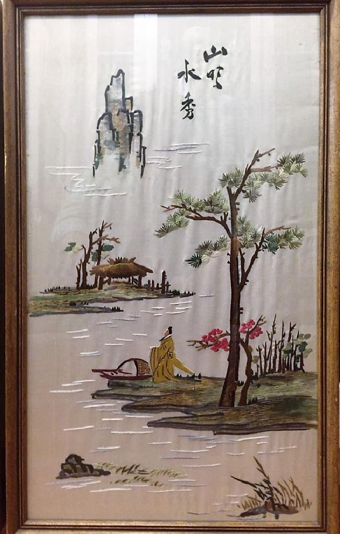 Three Old Chinese Silk Embroidery Panels Framed - 5