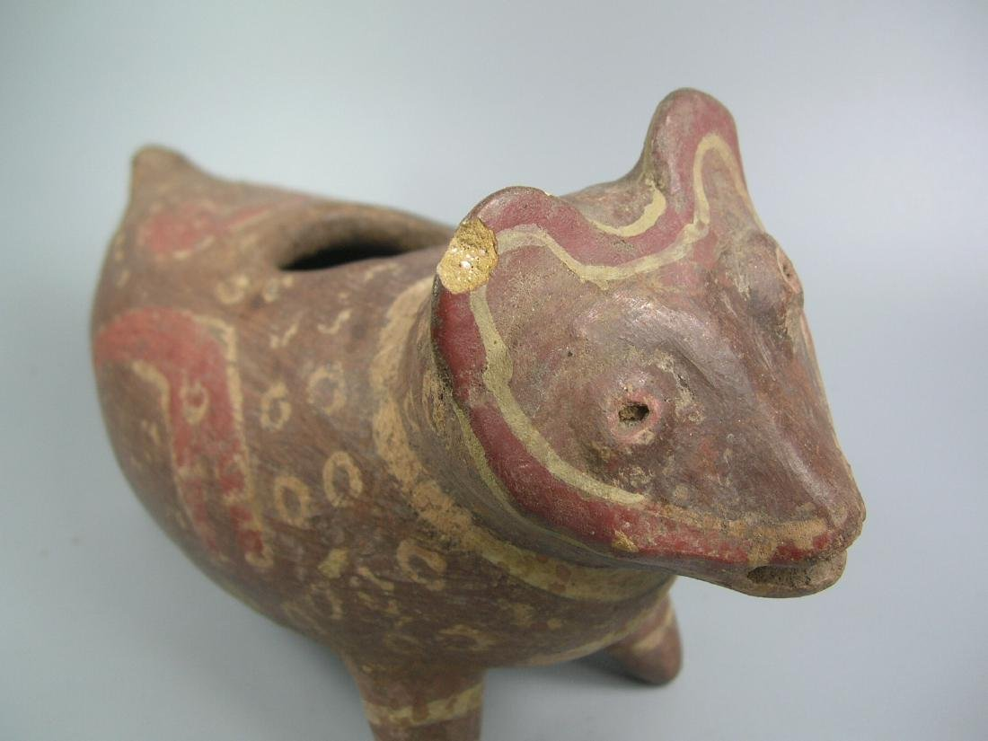 Pre-Columbian Painted Pottery Dog-Like Animal - 2