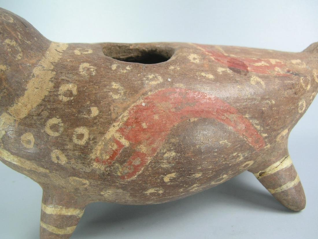 Pre-Columbian Painted Pottery Dog-Like Animal - 6