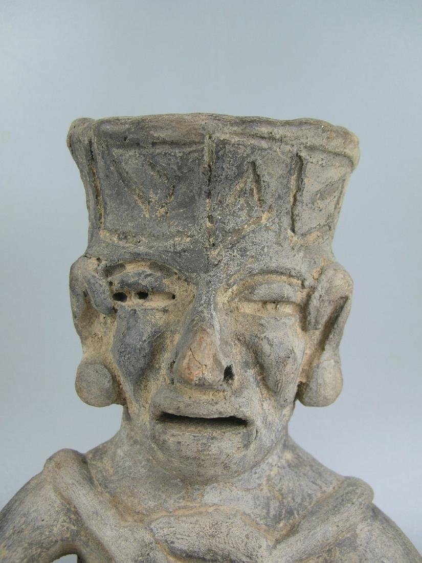 Pre-Columbian Pottery Seated Man - 2