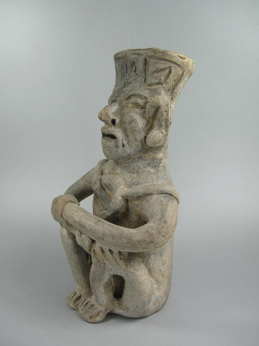 Pre-Columbian Pottery Seated Man - 4
