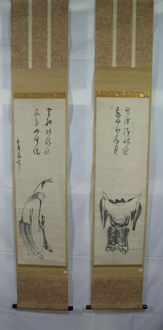 Two Antique Japanese Scroll Paintings Kanzan and