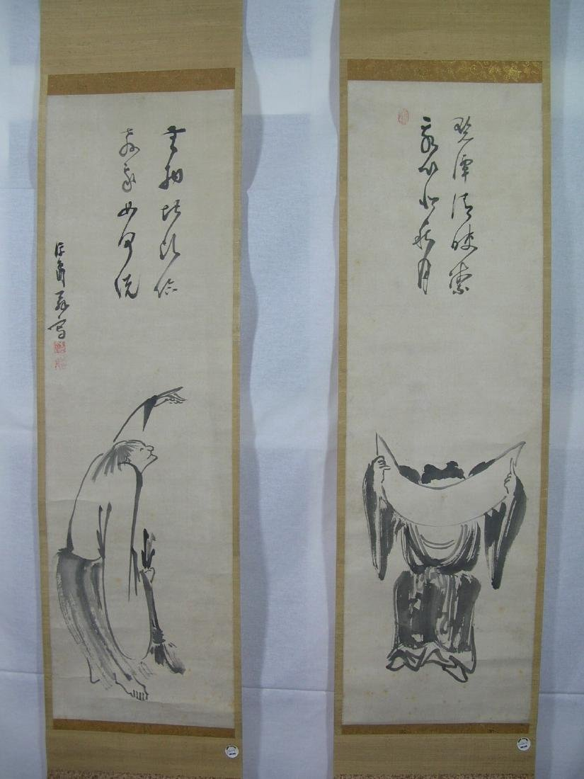 Two Antique Japanese Scroll Paintings Kanzan and - 2
