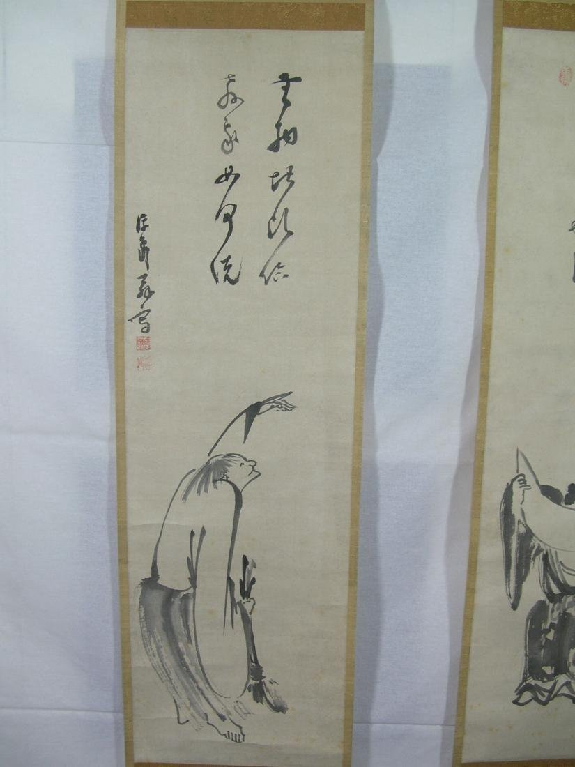 Two Antique Japanese Scroll Paintings Kanzan and - 3