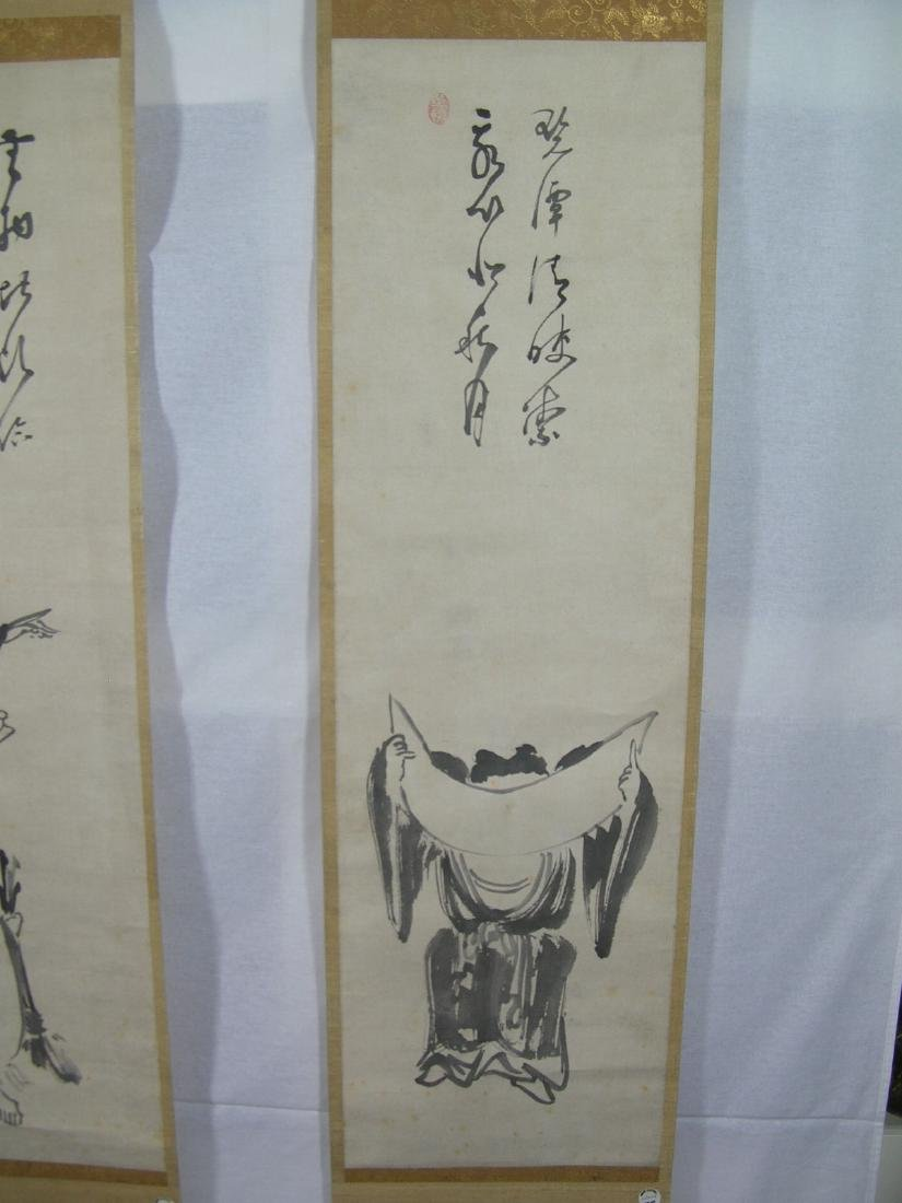 Two Antique Japanese Scroll Paintings Kanzan and - 4