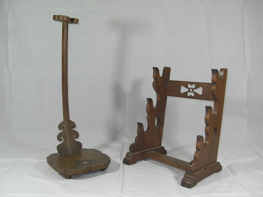Two Old Japanese Wooden Samurai Sword Stands