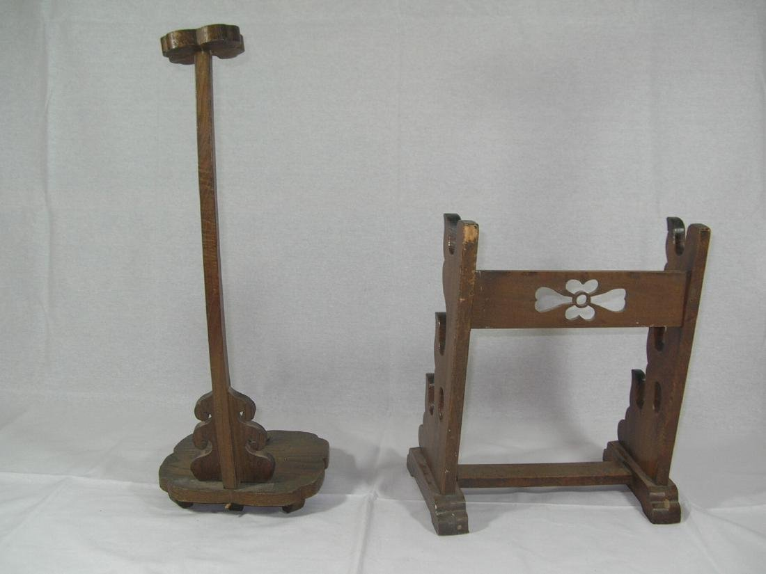 Two Old Japanese Wooden Samurai Sword Stands - 8