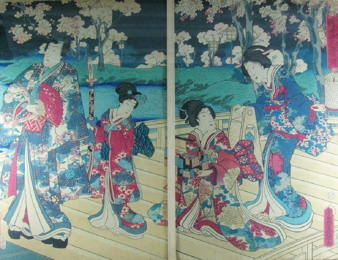 Antique Japanese Woodblock Print by Toyokuni III