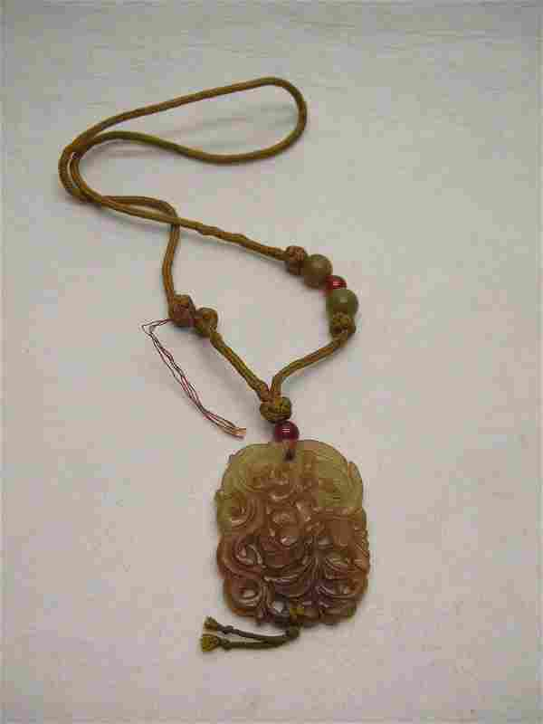 Chinese Carved Brown Hardstone pendant Qing Dy #la103j