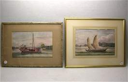 Two Chinese Export Painting 19th C la228p