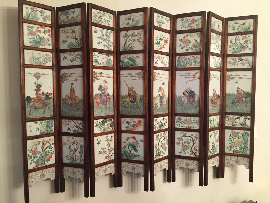 Very Fine Porcelain Painted Eight-Panel Screen #la238ps