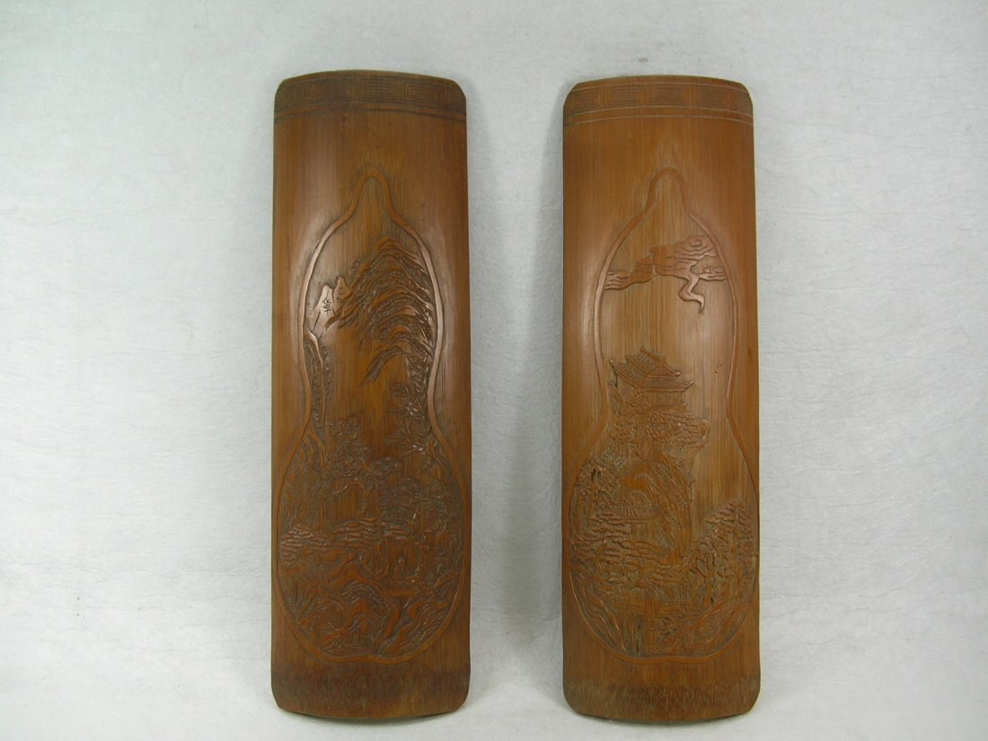 Pair of Chinese Bamboo Wrist Rests Daoist Landscape