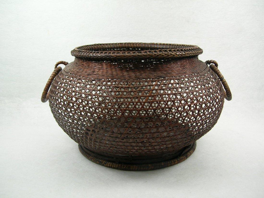 Very Fine Japanese Bamboo Basket Meiji Period