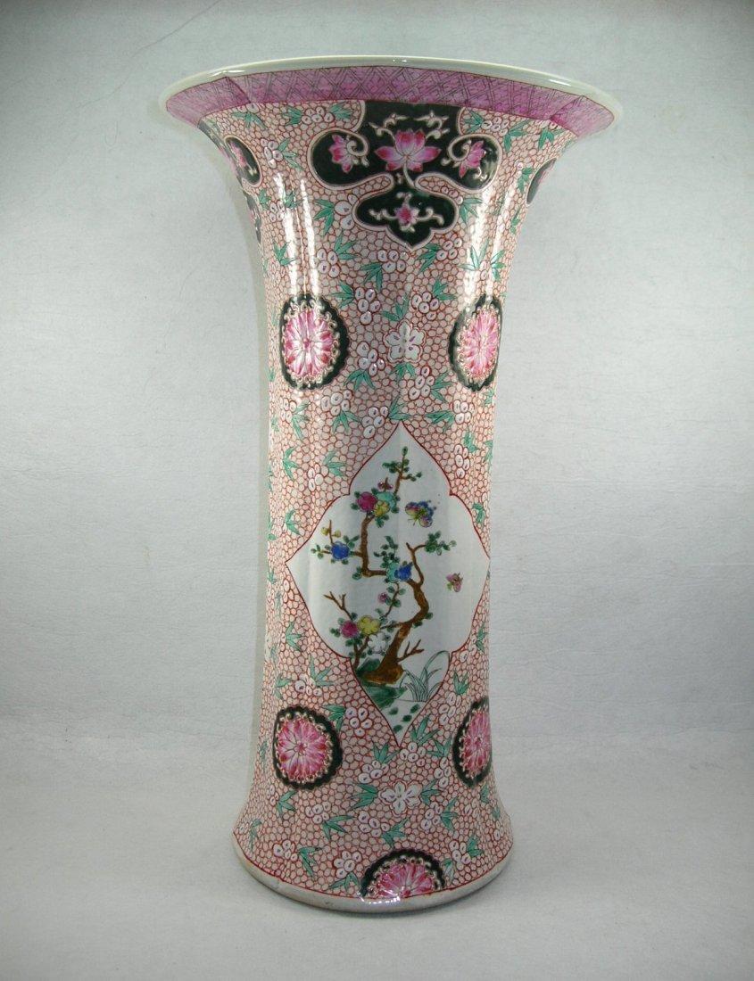 Large Chinese Famille Rose Beaker Vase Qing Dynasty