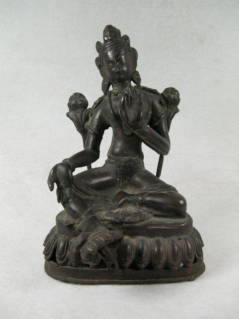 Sino-Tibetan Bronze Statue of Seated Bodhisattva