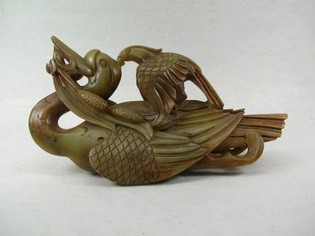 Chinese Carved Celadon Hardstone Group of Eagle & Swan