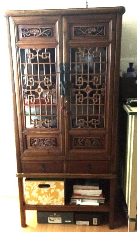 Antique Chinese Cabinet with Latticework Panels