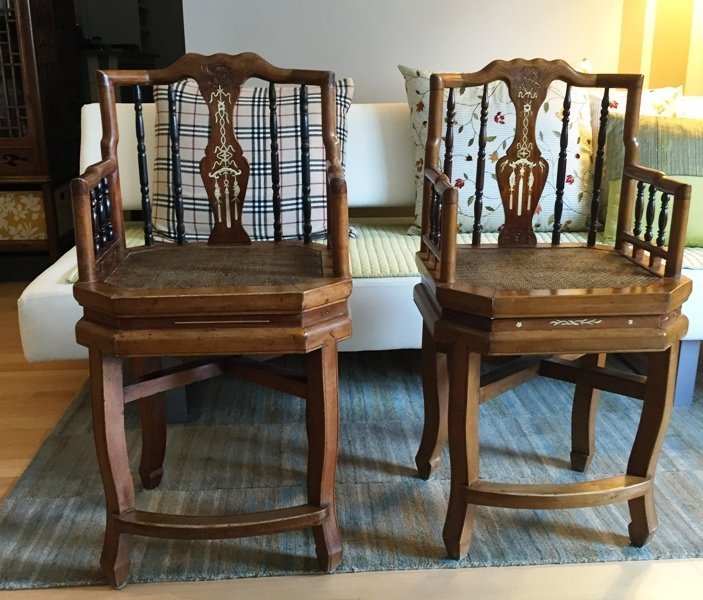 Pair of Chinese armchairs with Bone Inlays