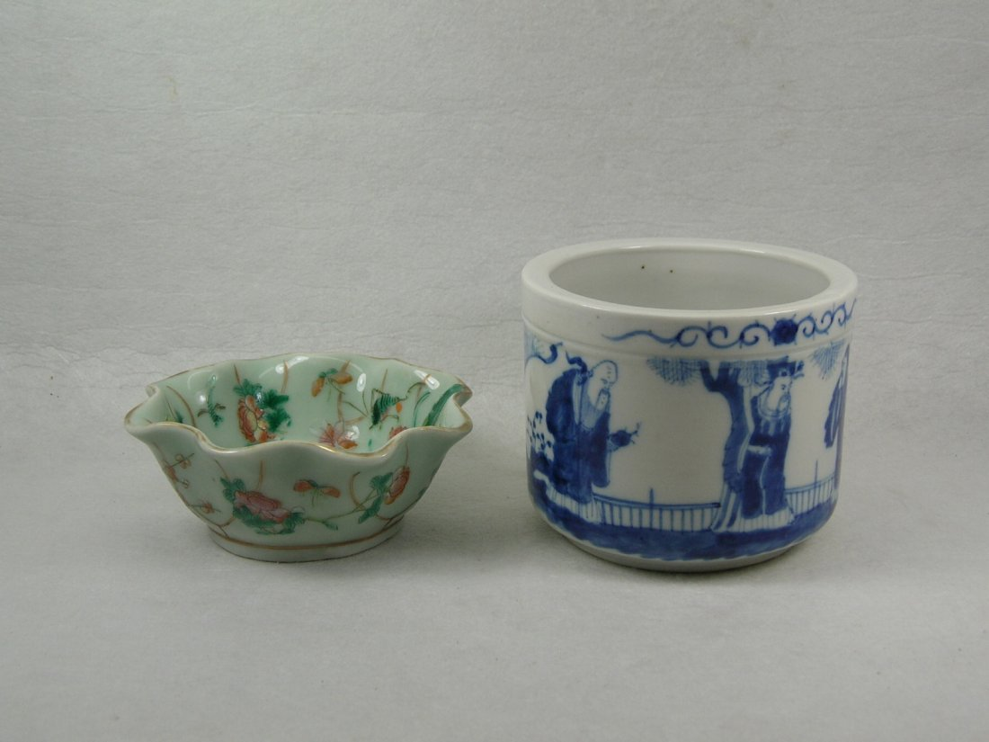 Chinese Famille Rose Bowl and Blue and White Censer