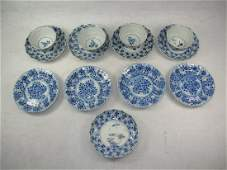 Group of Chinese Blue & White Teacups & Dishes 18th C.
