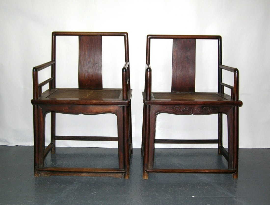 Two Chinese Huanghuali Rose Chairs 18th Century