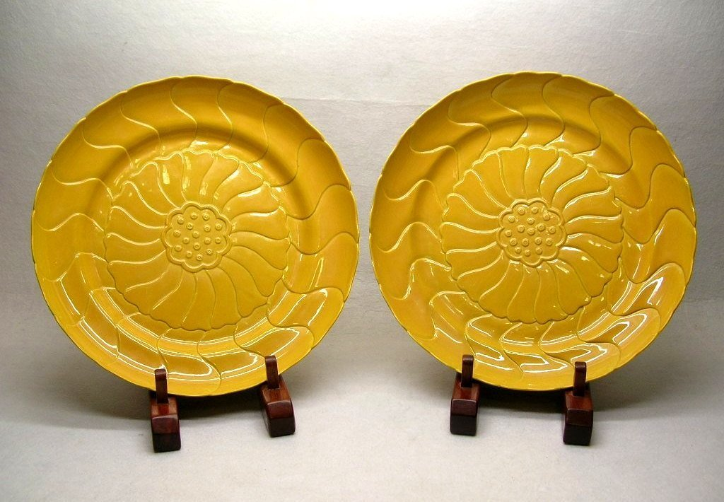 Large Pair of Chinese Yellow Lotus Dishes Marked
