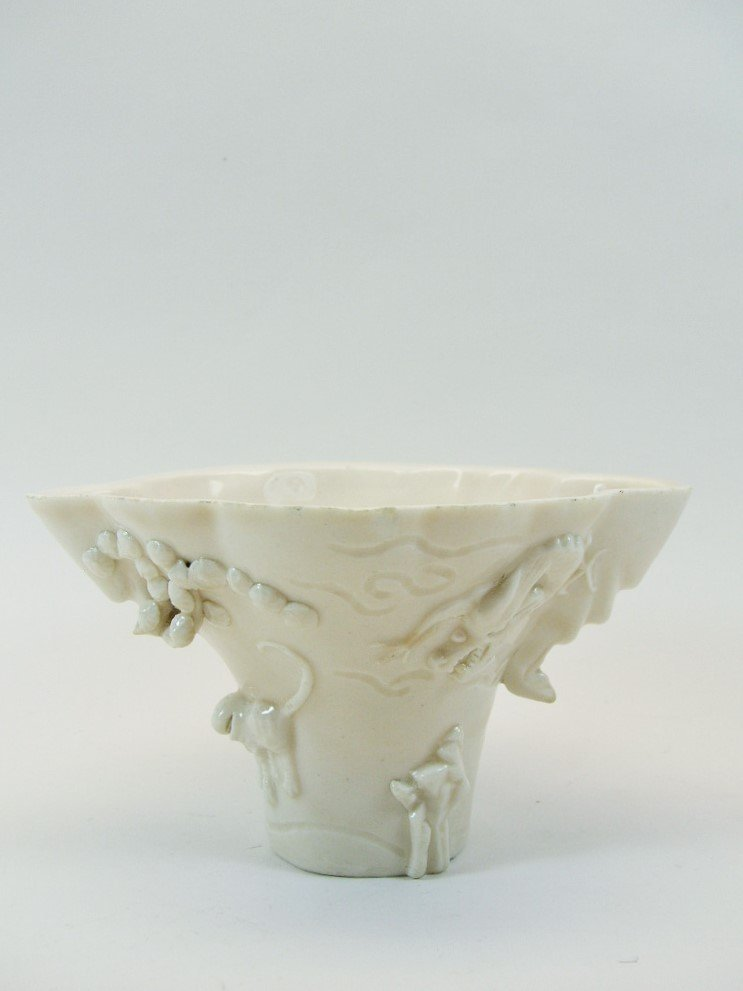 Unusual Dehua White Glaze Libation Cup 17th/18th