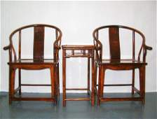 Unusual Pair of Ming-Style Huanghuali Chairs & Stand