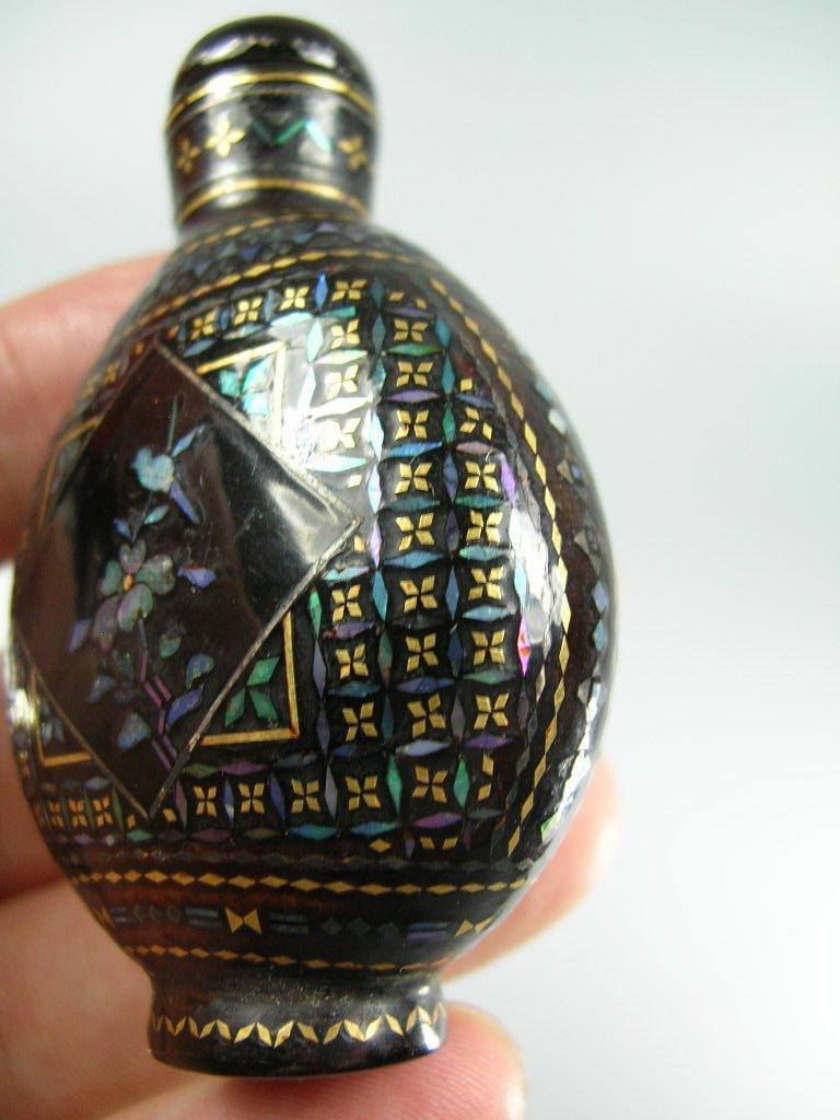 Fine Japanese Lac Burgaute Snuff Bottle 19th Century - 8