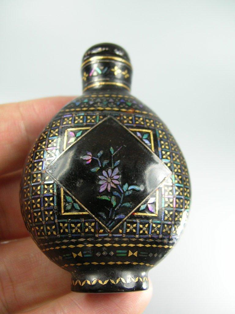 Fine Japanese Lac Burgaute Snuff Bottle 19th Century - 9