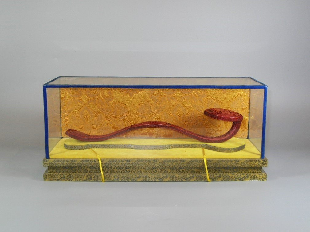 Chinese Red Lacquer Ruyi Scepter with Display Case