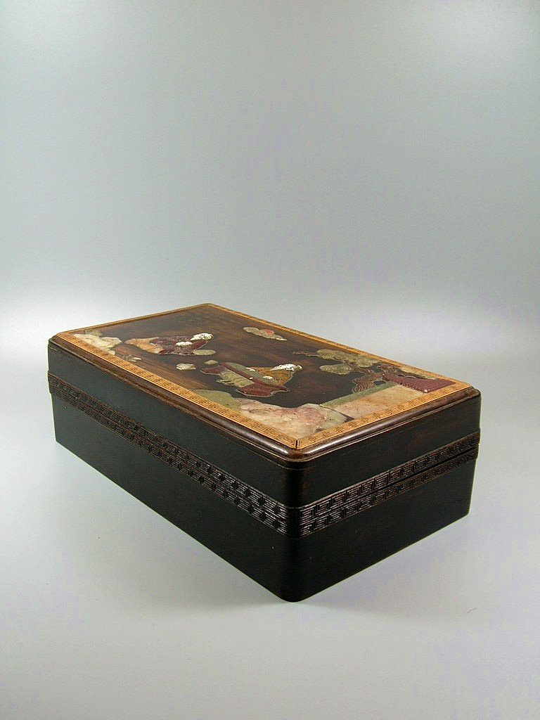 Unusual and Rare Hardstone Embellished Zitan Box