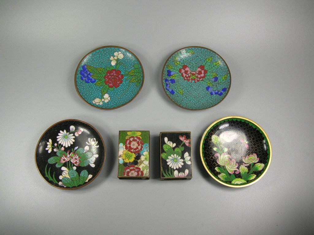 Four Antique Cloisonne Opium Dishes & Two Match Holders
