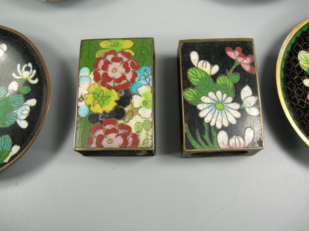 Four Antique Cloisonne Opium Dishes & Two Match Holders - 2