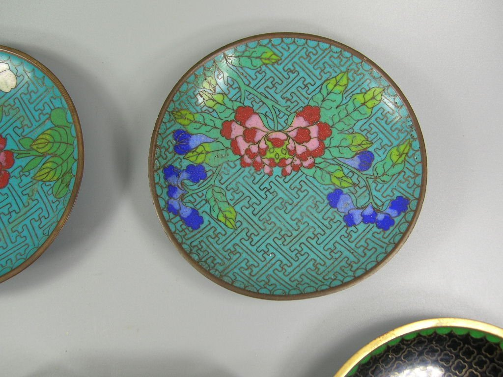 Four Antique Cloisonne Opium Dishes & Two Match Holders - 3