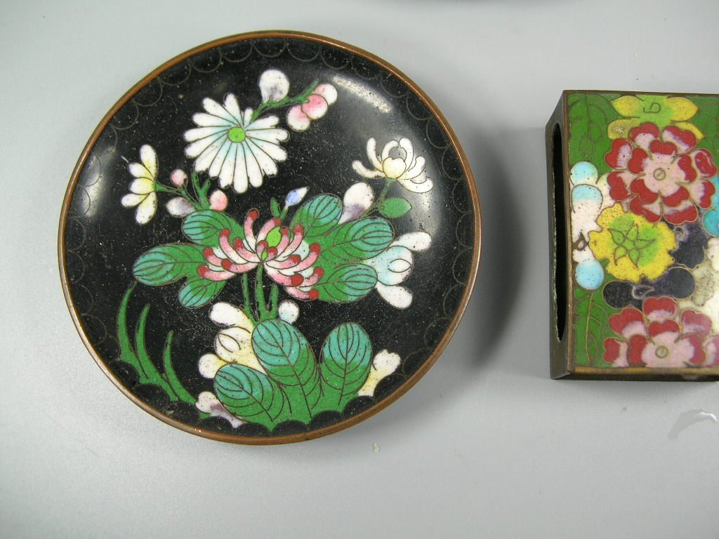 Four Antique Cloisonne Opium Dishes & Two Match Holders - 4