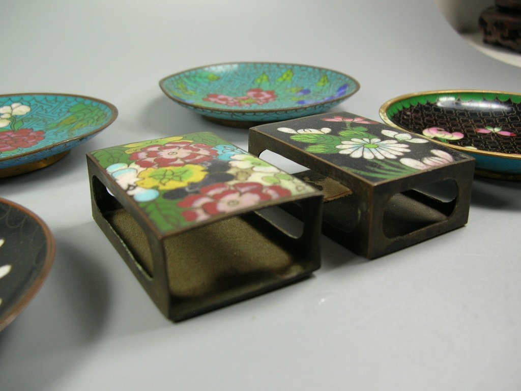 Four Antique Cloisonne Opium Dishes & Two Match Holders - 5