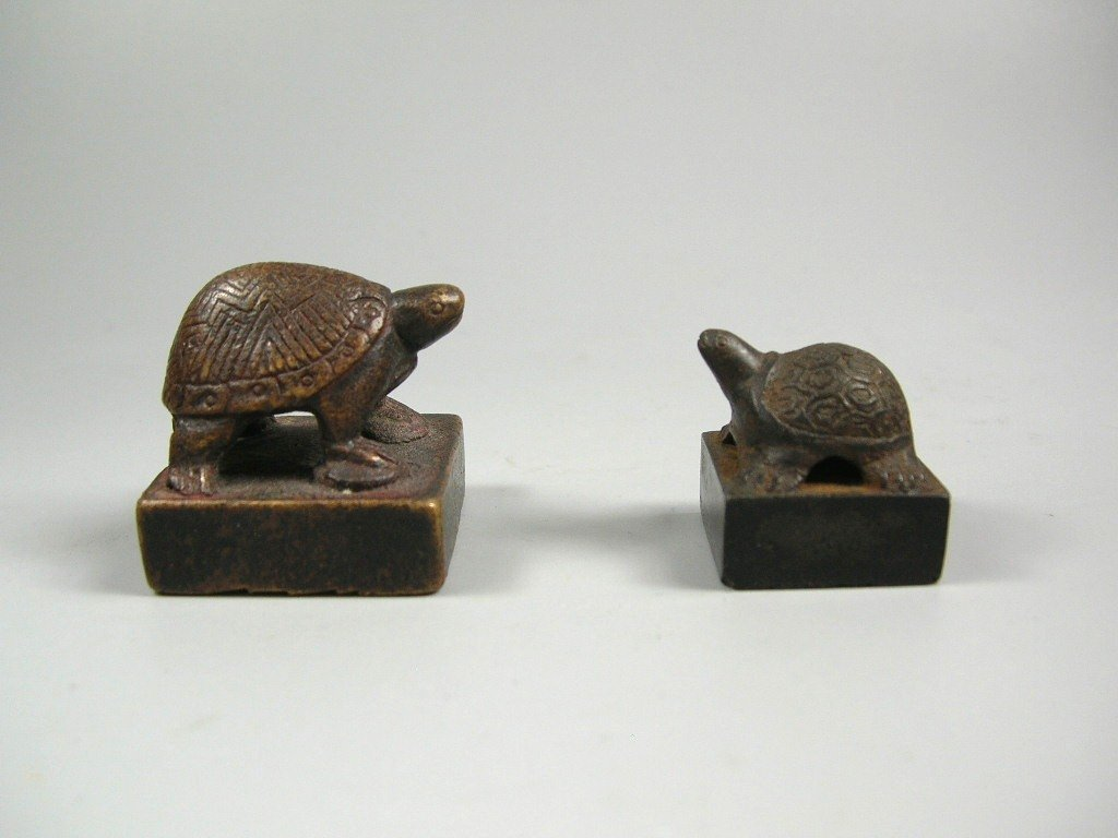 Two Han Dynasty Bronze Seals with Turtle Finials