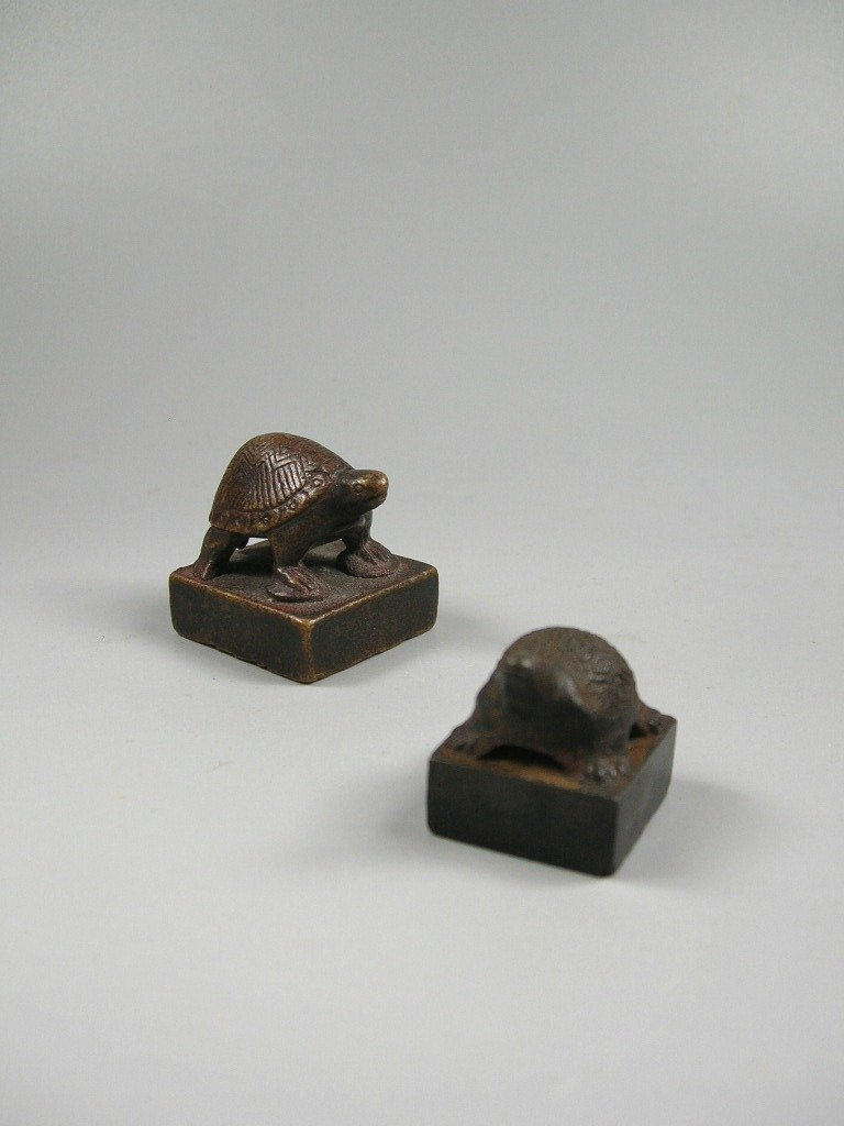 Two Han Dynasty Bronze Seals with Turtle Finials - 2