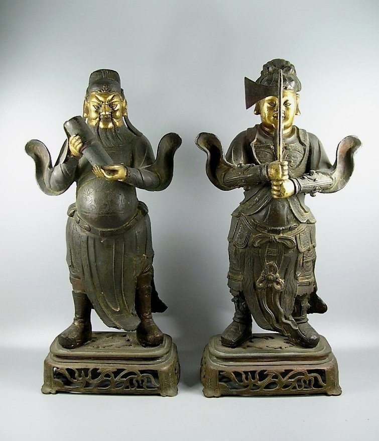 Two Gilt Bronze Statues of Standing Deities Ming Dy